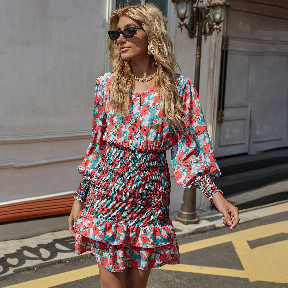 Shirred Layered Hem Allover Floral Dress