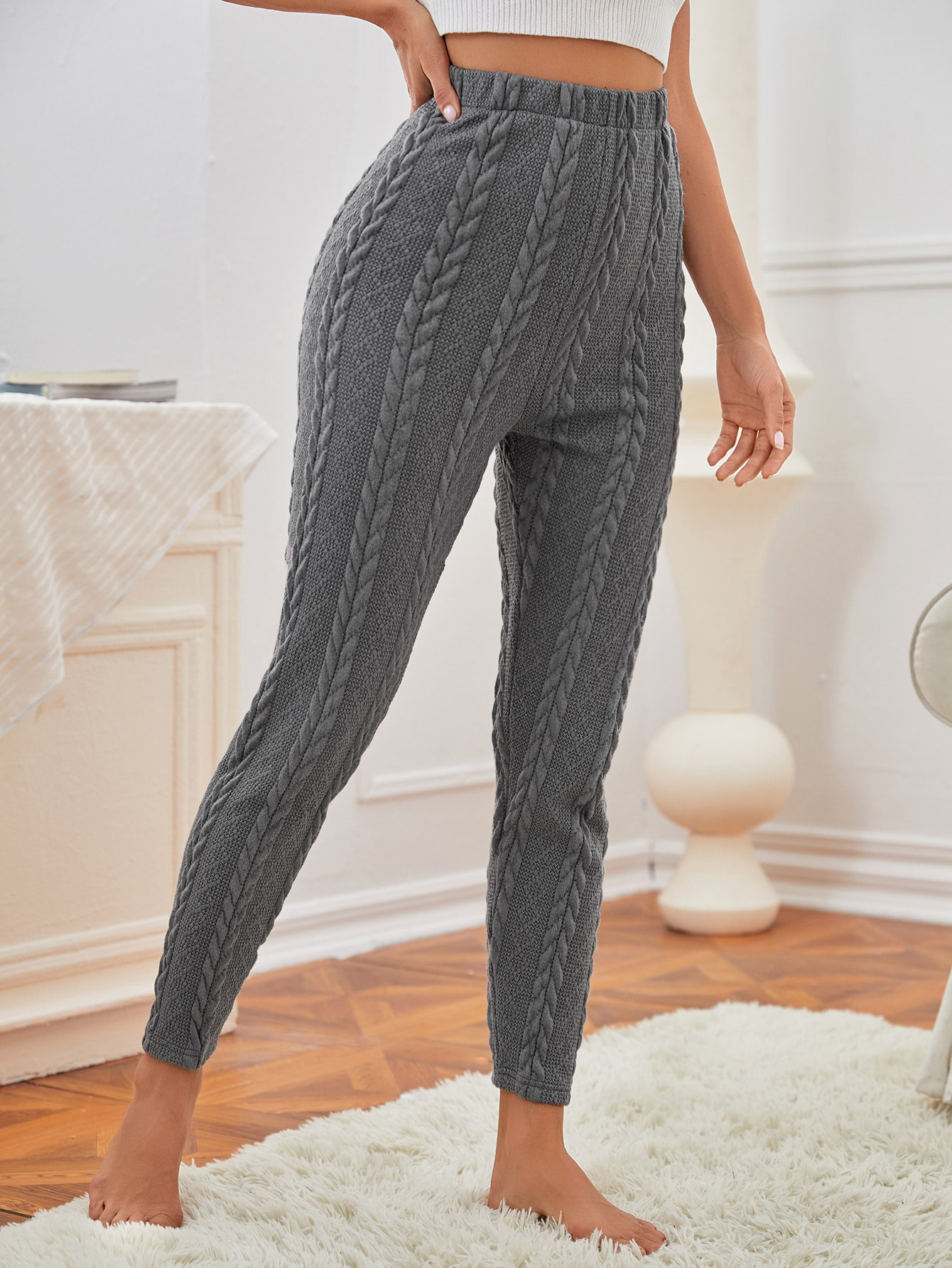 Solid Crop Cable Knit Pants thumbnail