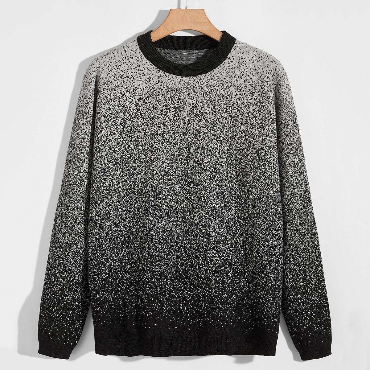 Men Contrast Neck Ombre Sweater