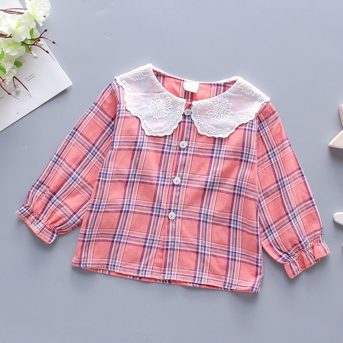 С оборками клетчатый милый блузы для девочек