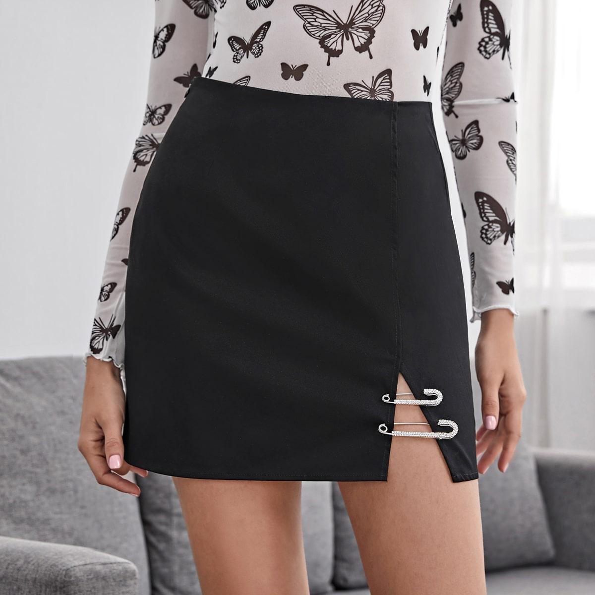 SHEIN / Zipper Side Split Hem Paperclip Detail Skirt
