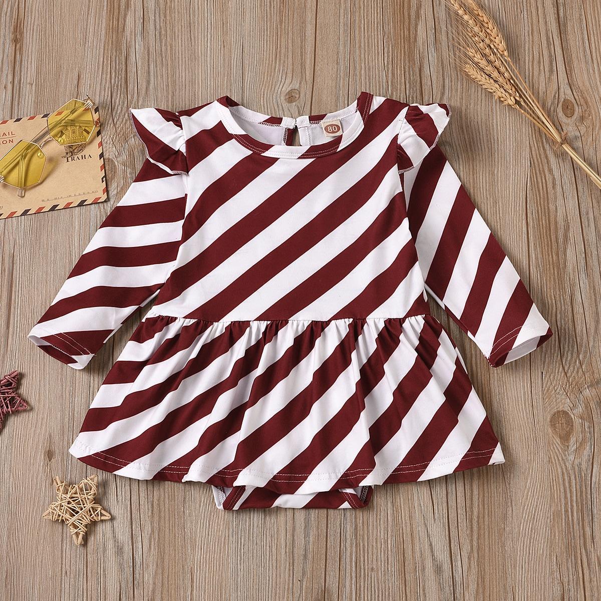 Платье-боди с оборкой и полосатым принтом для девочек