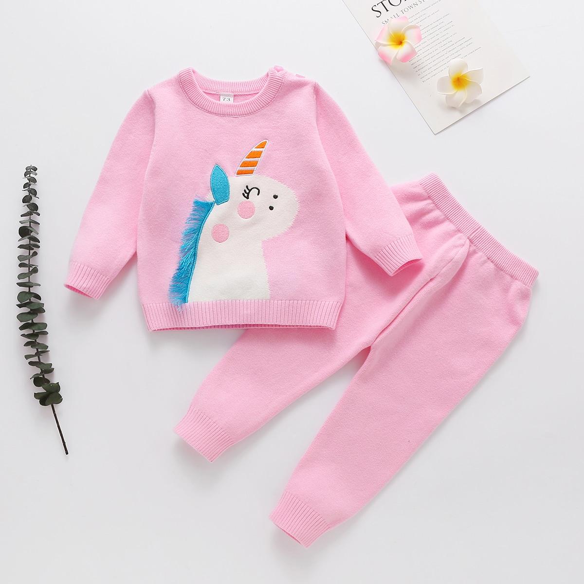 Трикотажные брюки и свитер с узором единорога для девочек