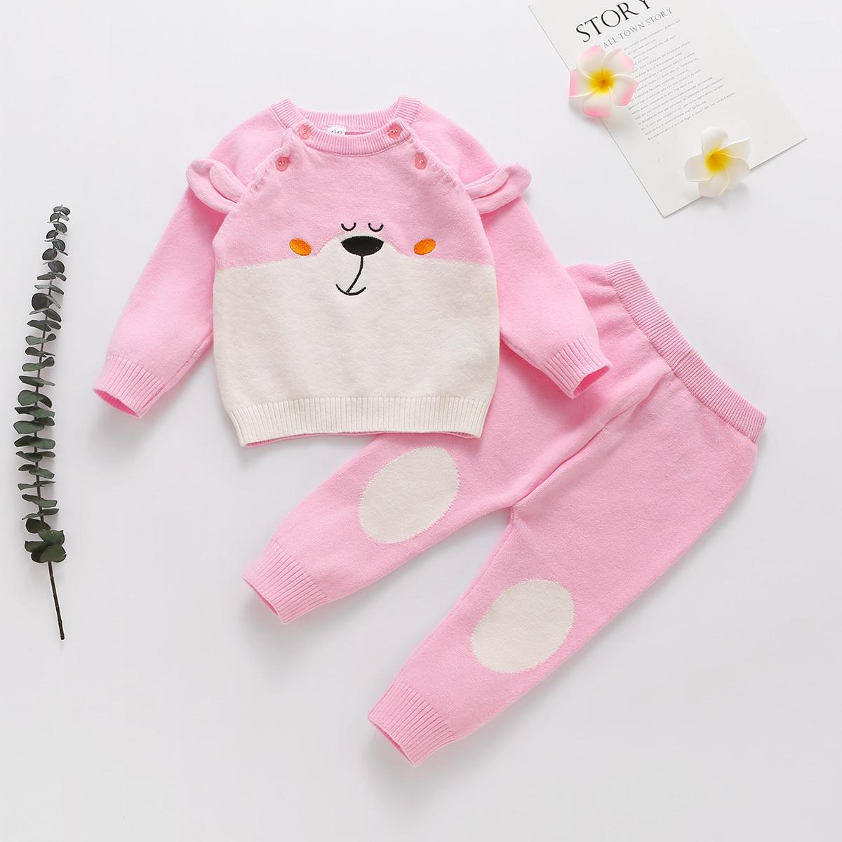 Трикотажные брюки и свитер с мультипликационной вышивкой для девочек