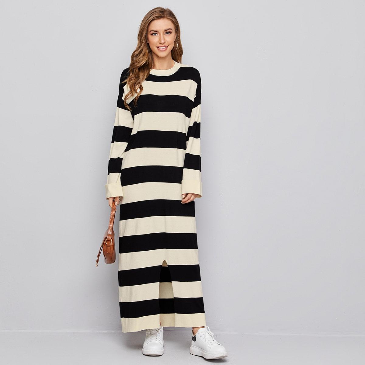 Drop Shoulder Split Hem Two Tone Sweater Dress