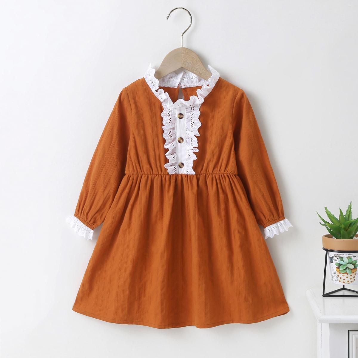 Контрастное платье для девочек