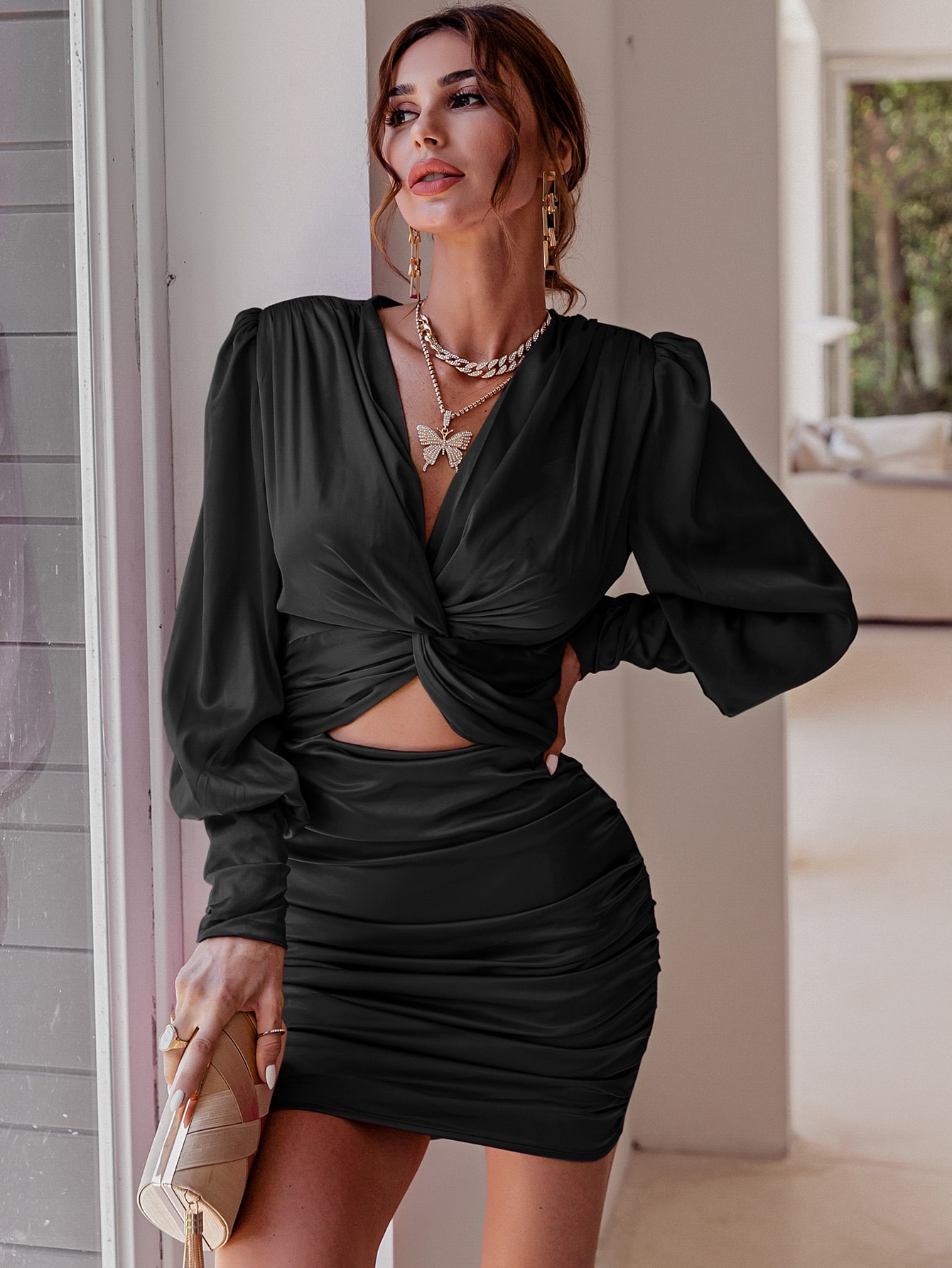Twist Front Ruched Satin Dress thumbnail