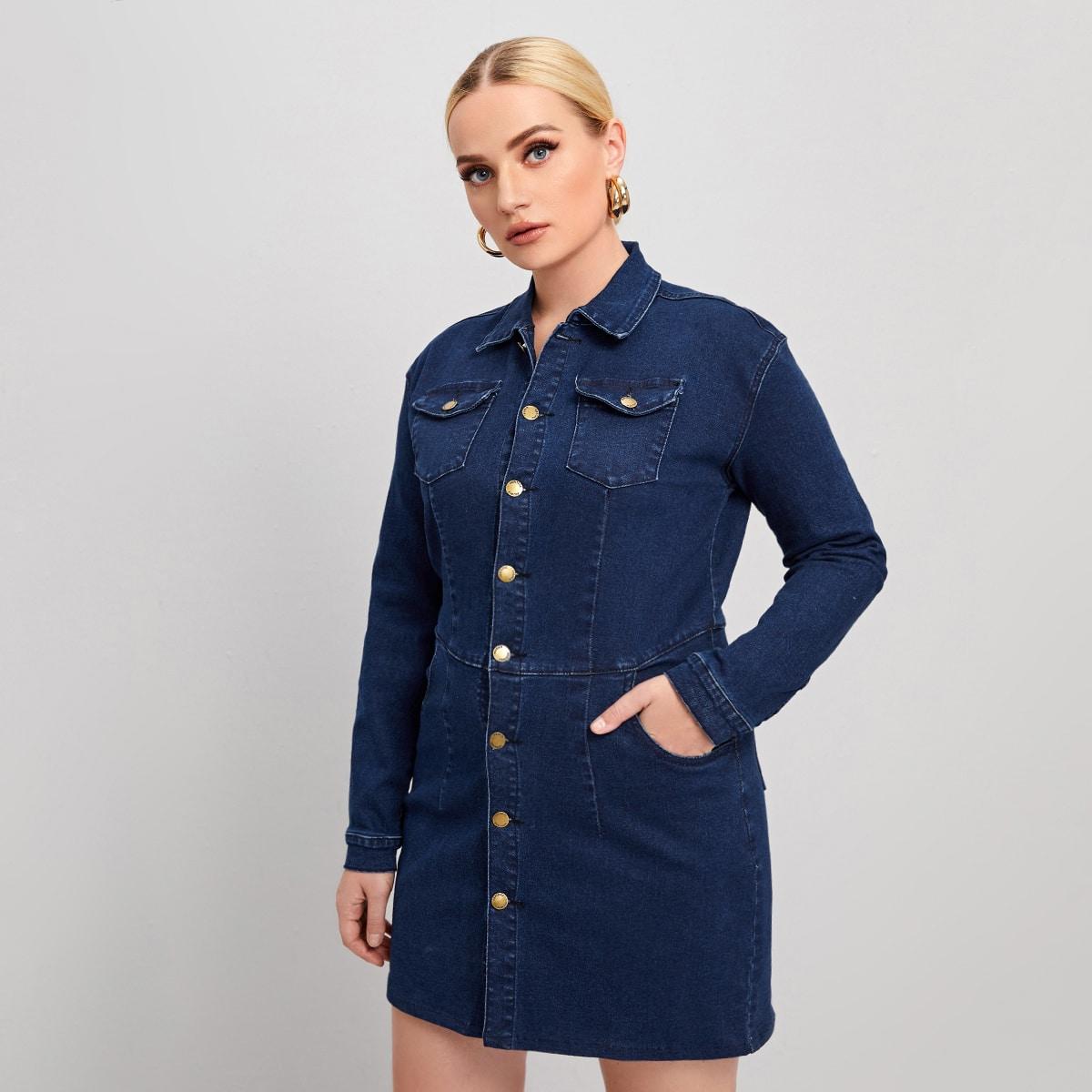 Однобортное джинсовое платье размера плюс с карманом