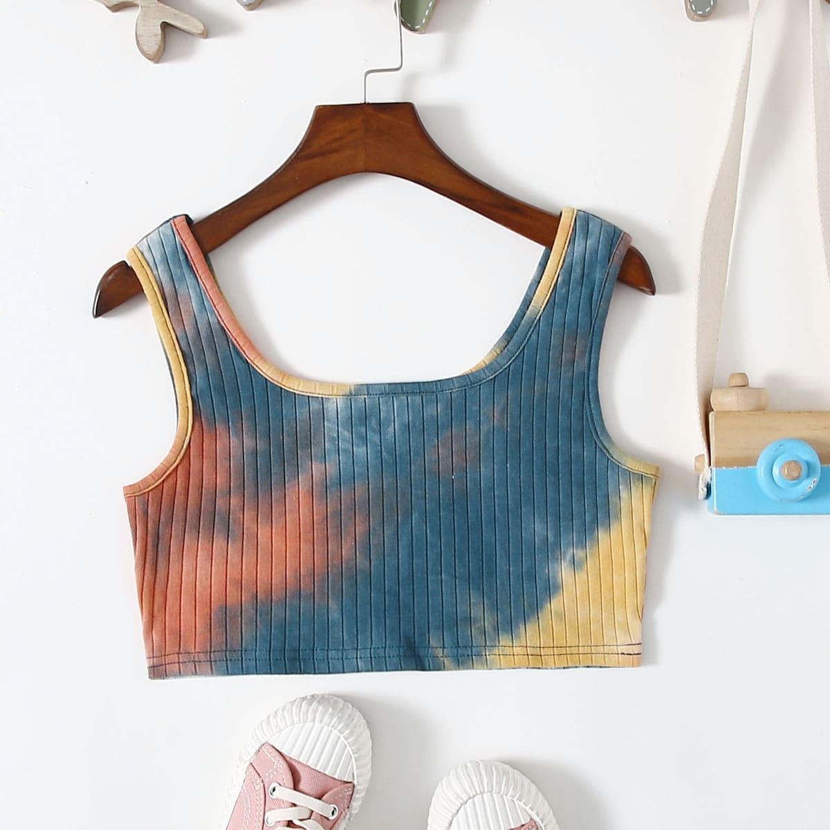 Girls Rib-knit Tie Dye Tank Top, SHEIN  - buy with discount