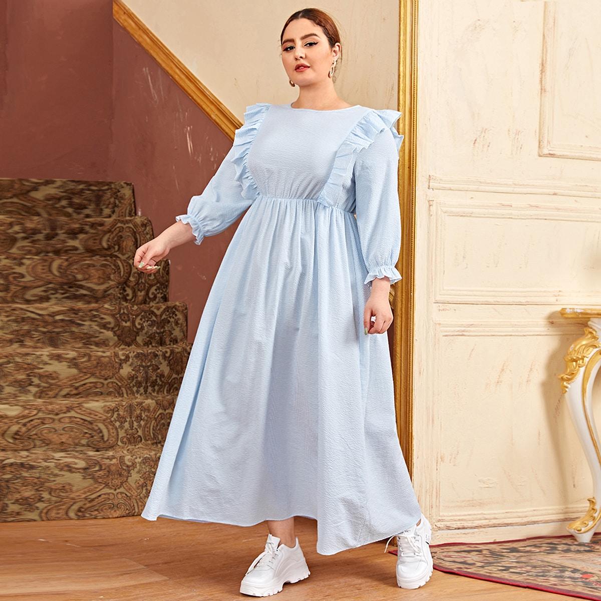 Платье размера плюс с оборкой