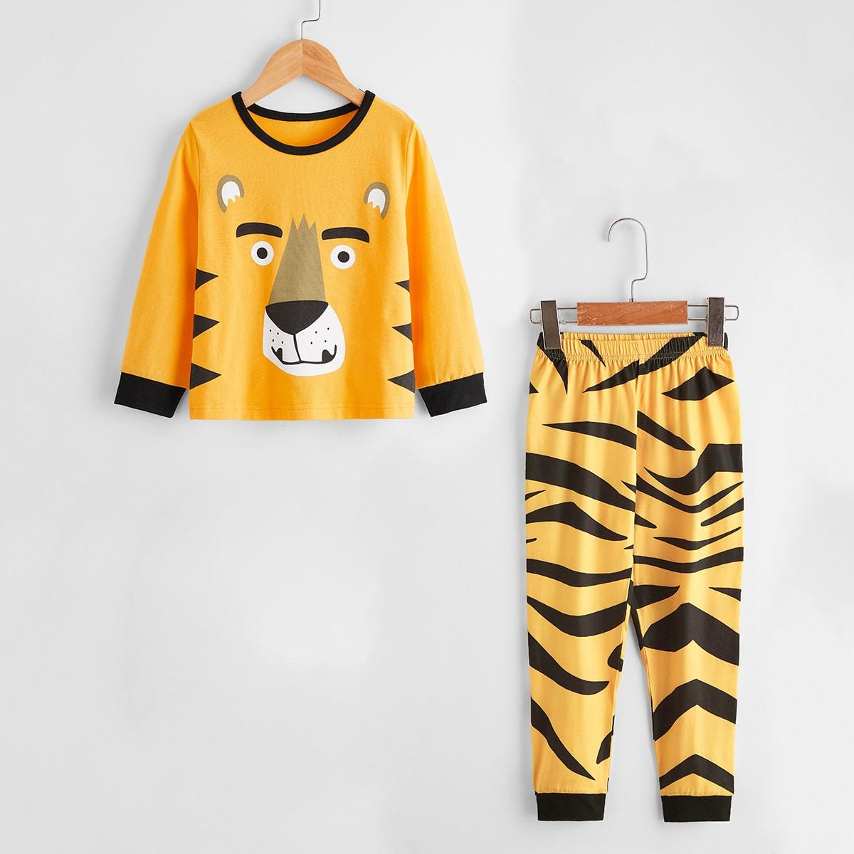Пижама с мультипликационным принтом и вязаные брюки для мальчиков