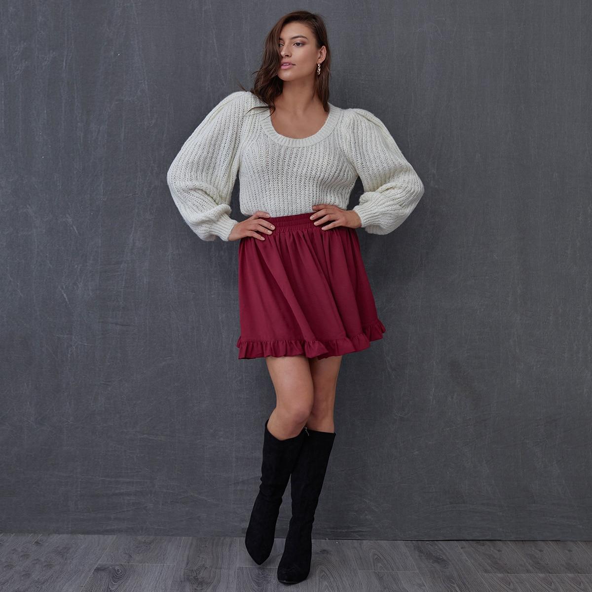 Ruffle Hem Solid Skirt