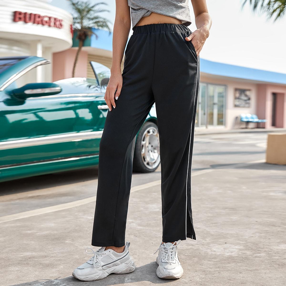 Контрастные спортивные брюки