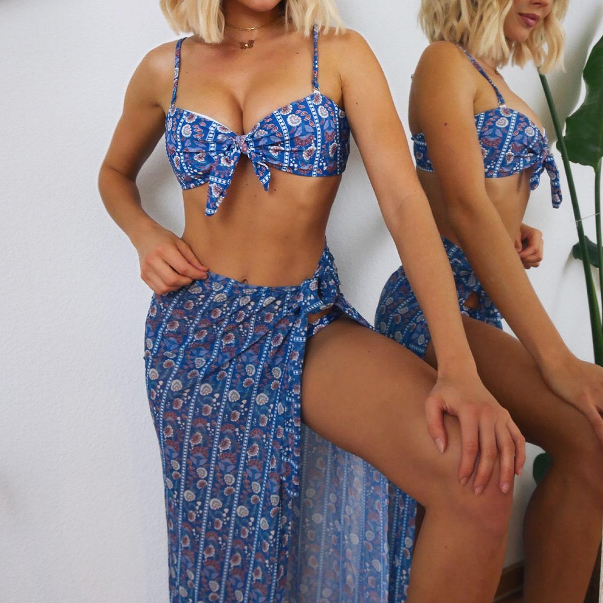 3 пакета бикини и пляжная юбка с цветочным принтом