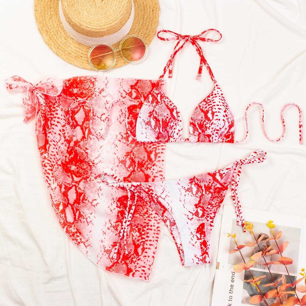 3 пакета бикини со змеиным принтом и пляжная юбка