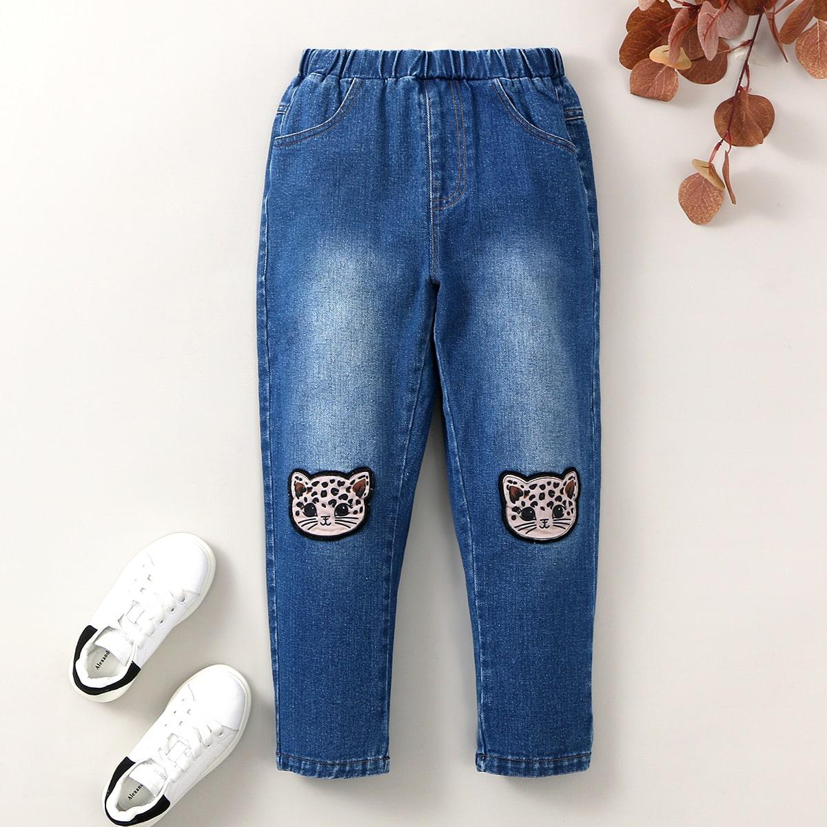 Аппликация мультяшный принт повседневный джинсы для девочек