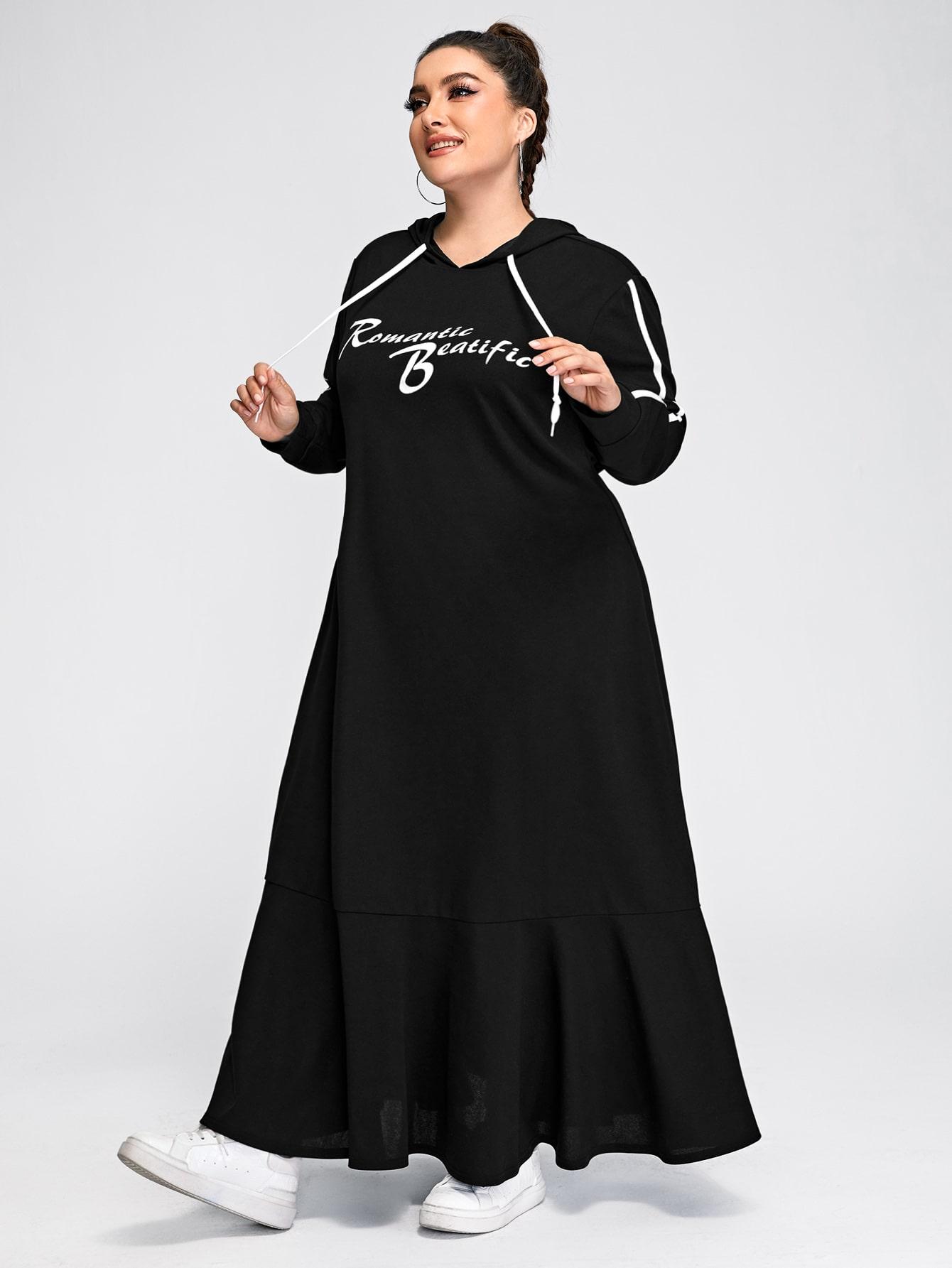 Plus Letter Graphic Drawstring Ruffle Hem Sweatshirt Dress thumbnail