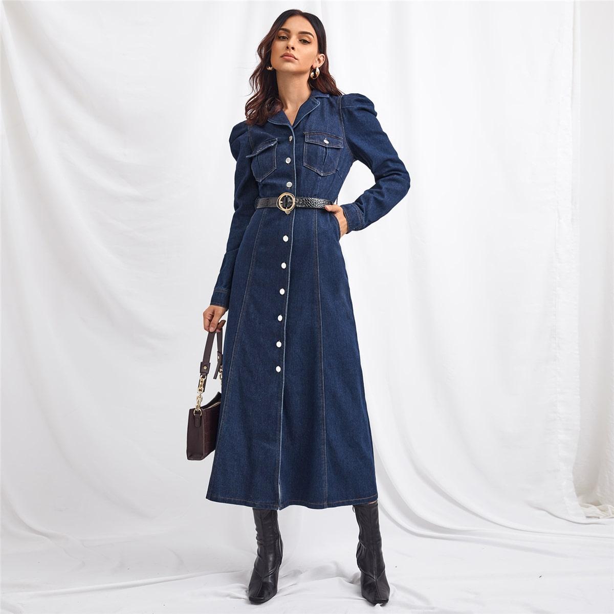 Джинсовое платье с оригинальным рукавом без пояса