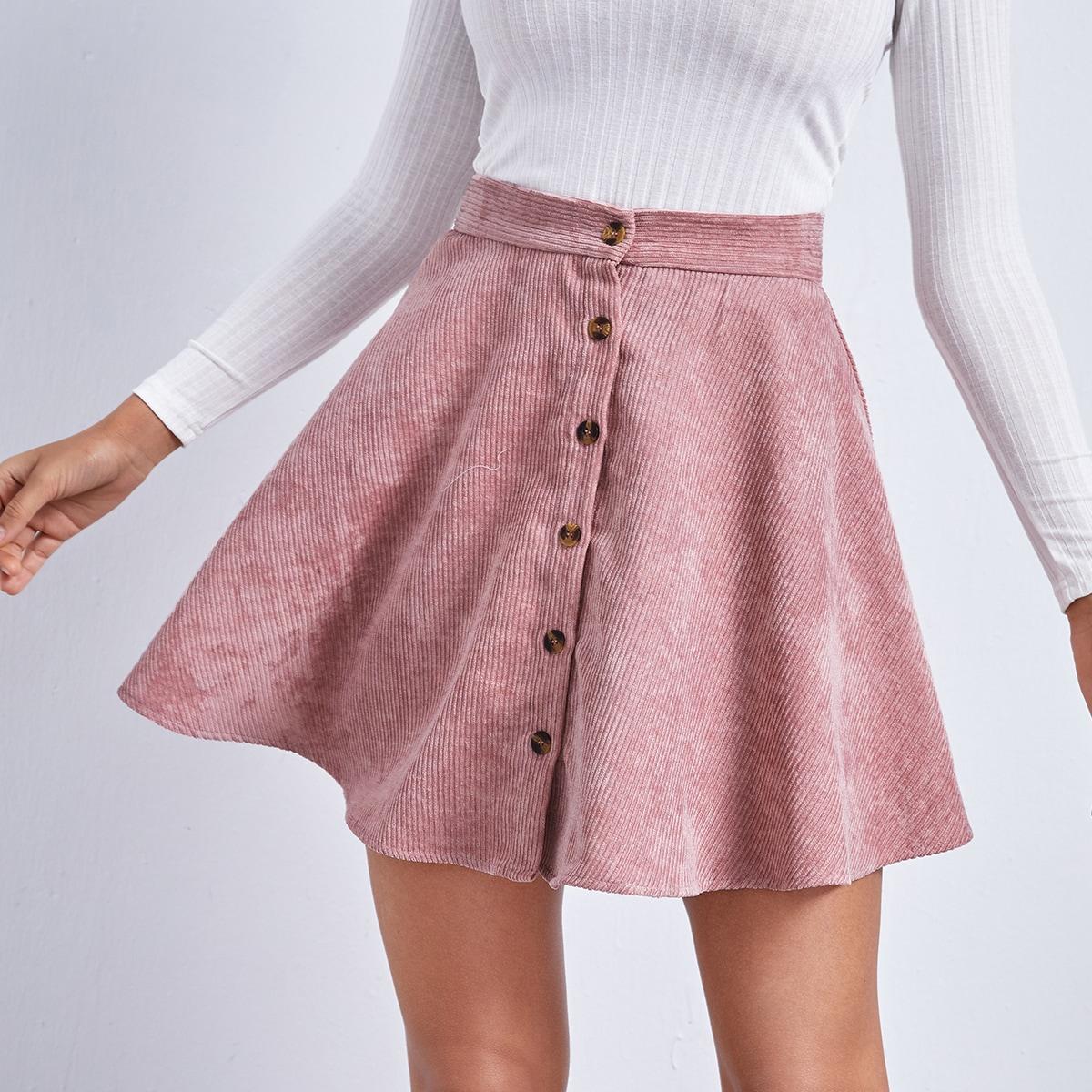 Однотонная вельветовая юбка