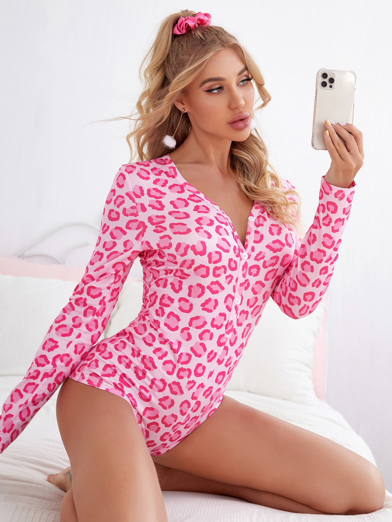 All Over Print Button Front Pajama Onesie thumbnail