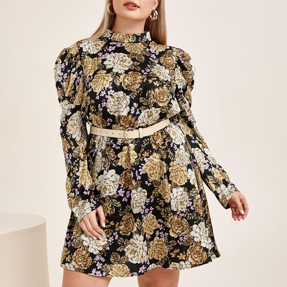 Платье размера плюс с пышным рукавом и цветочным принтом без пояса