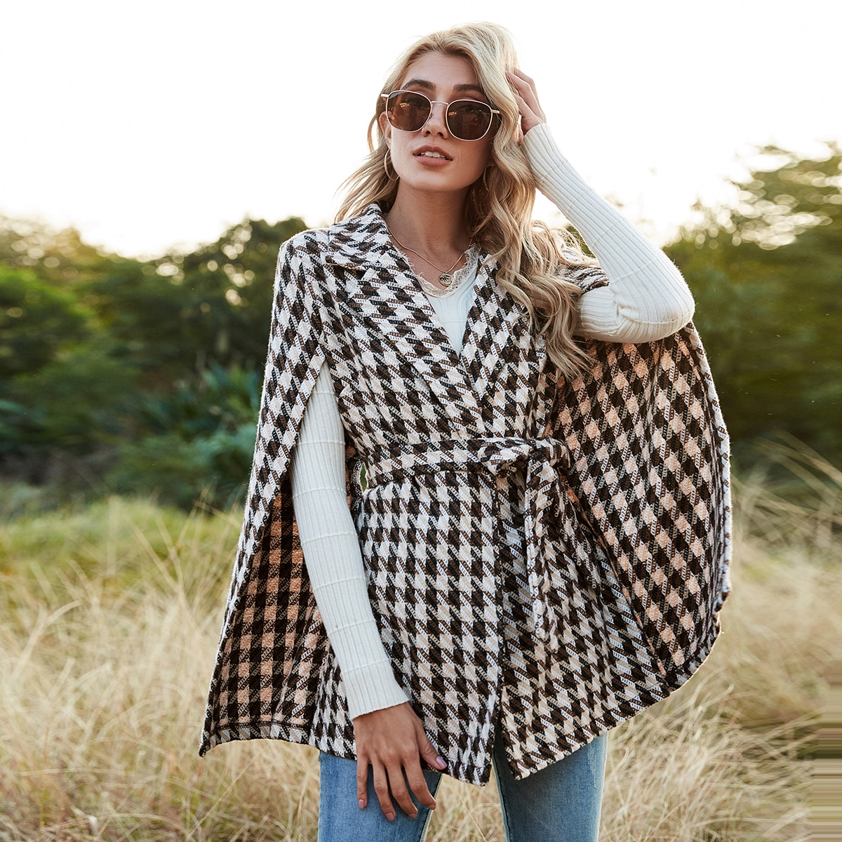 Houndstooth Pattern Belted Tweed Cape Coat