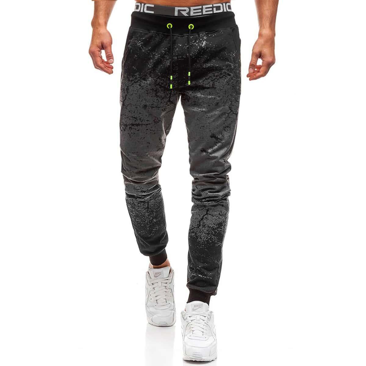 Мужские спортивные брюки на кулиске с принтом
