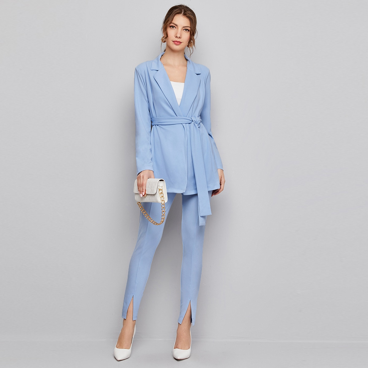 Solid Belted Blazer & Split Hem Pants Set
