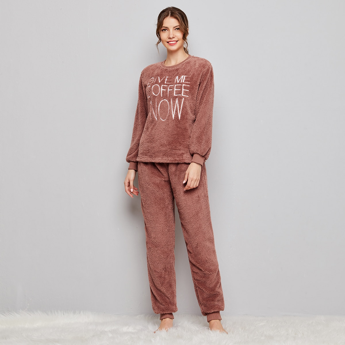 Slogan Embroidery Teddy Pullover & Pants Set