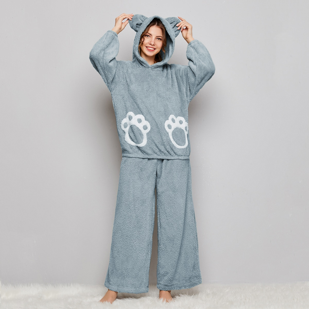 Cartoon Teddy Pullover and Wide Leg Pants PJ Set With Bear Ear