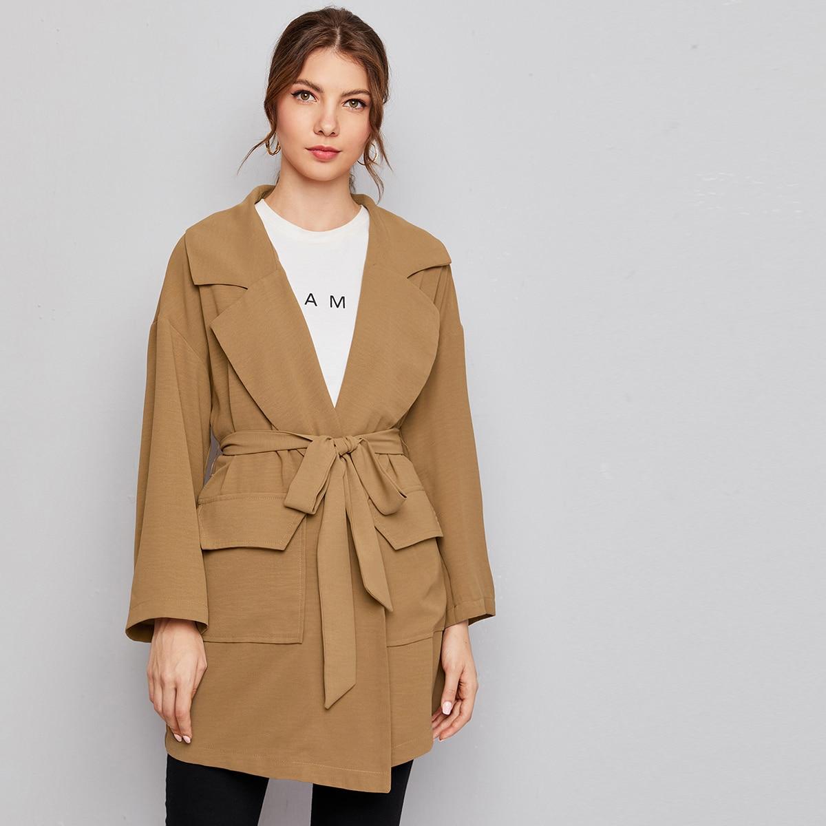 Notched Collar Flap Pocket Front Self Belted Coat