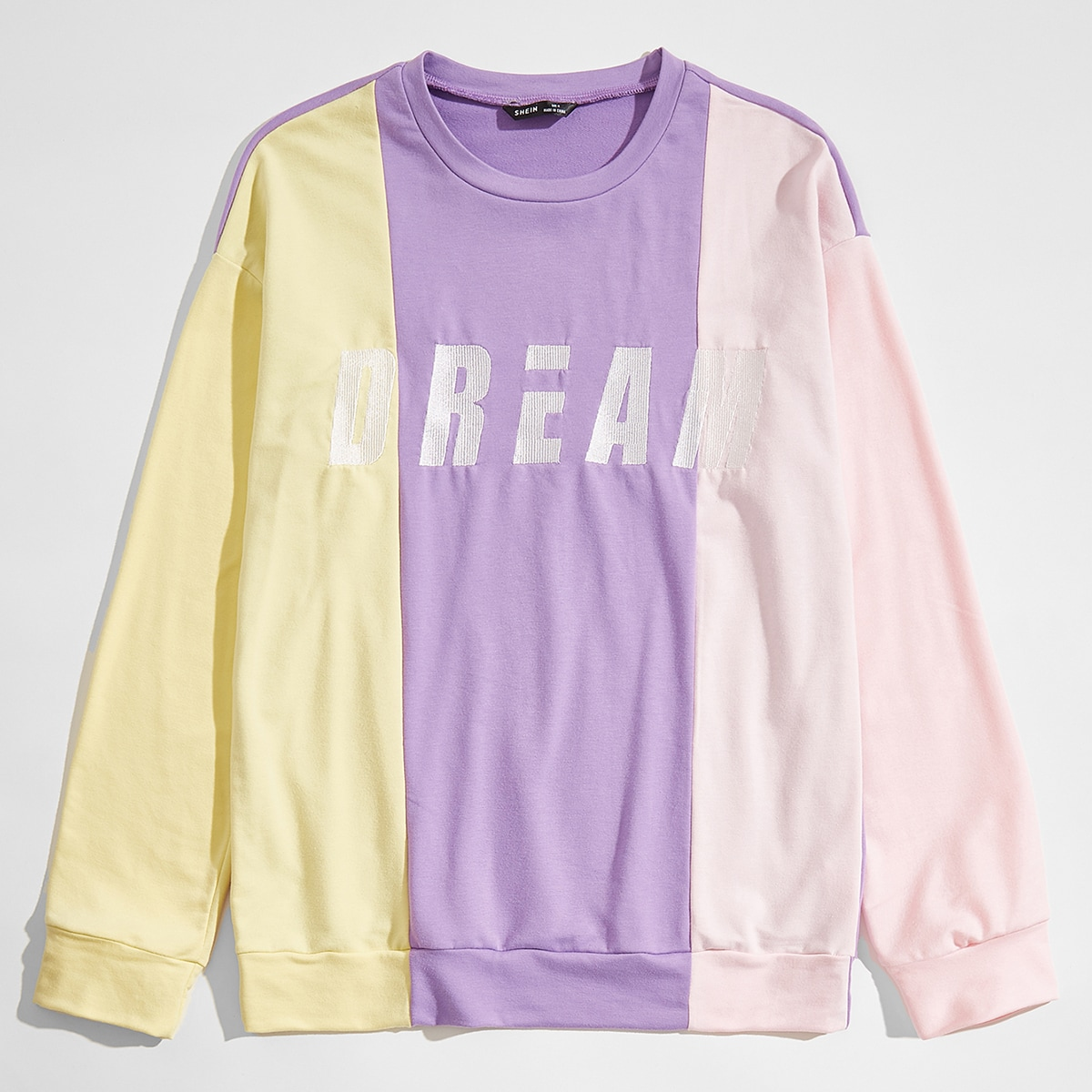 Men Letter Embroidered Colorblock Pullover