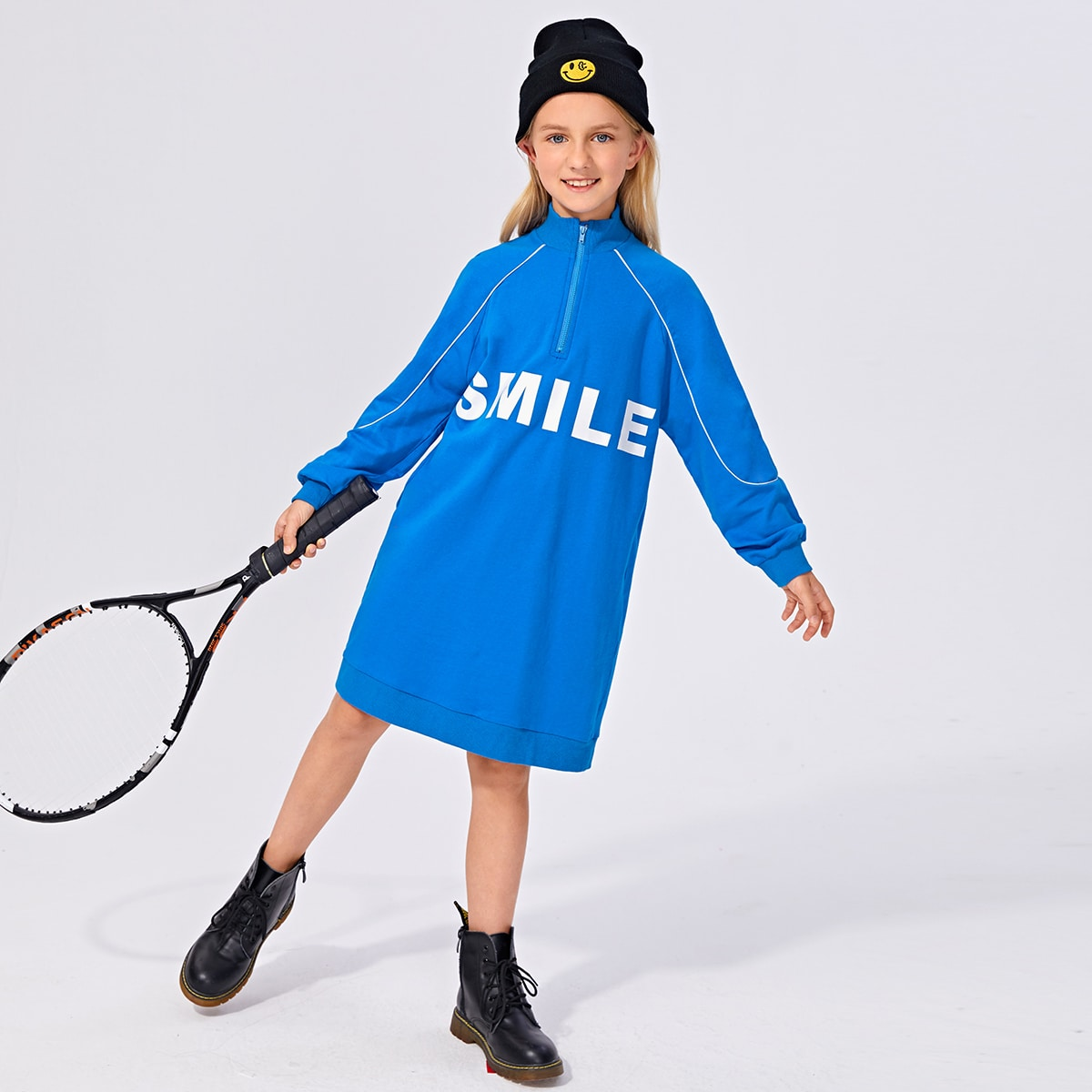 Girls Letter Graphic Contrast Tipping Sweatshirt Dress, SHEIN  - buy with discount