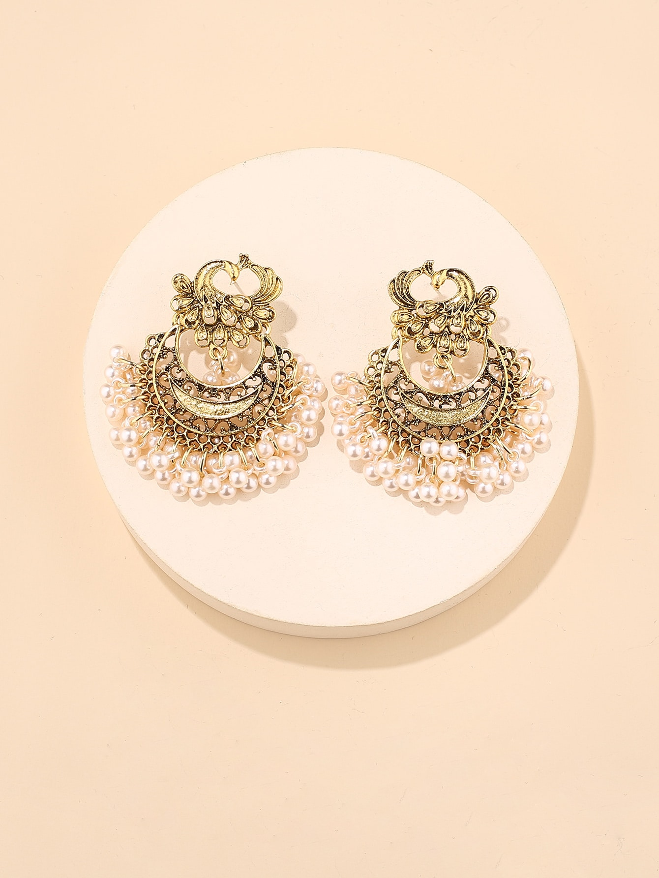 Faux Pearl Tassel Decor Drop Earrings thumbnail