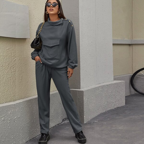 Funnel Neck Flap Pocket Pullover & Pants Set, Dark grey