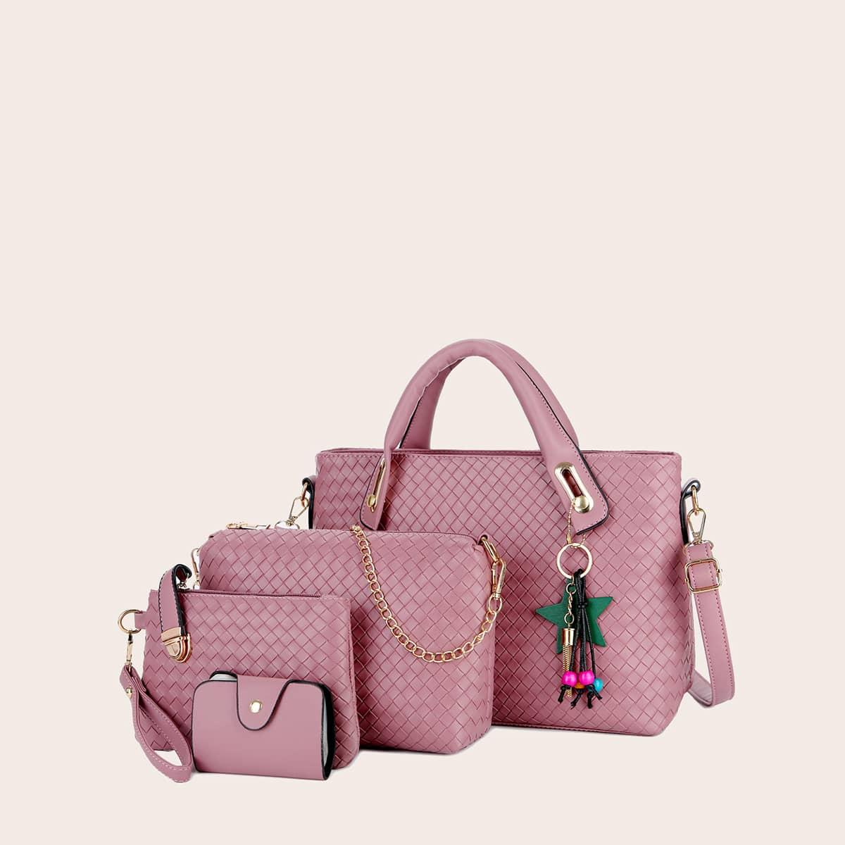 4шт набор сумок с плетеным узором и бусинами