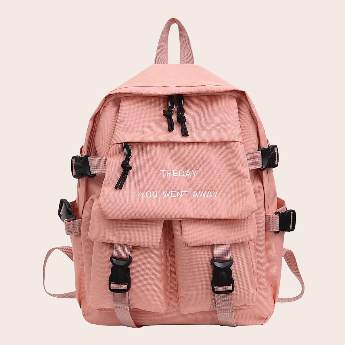 Школьная сумка большей емкости с текстовой вышивкой