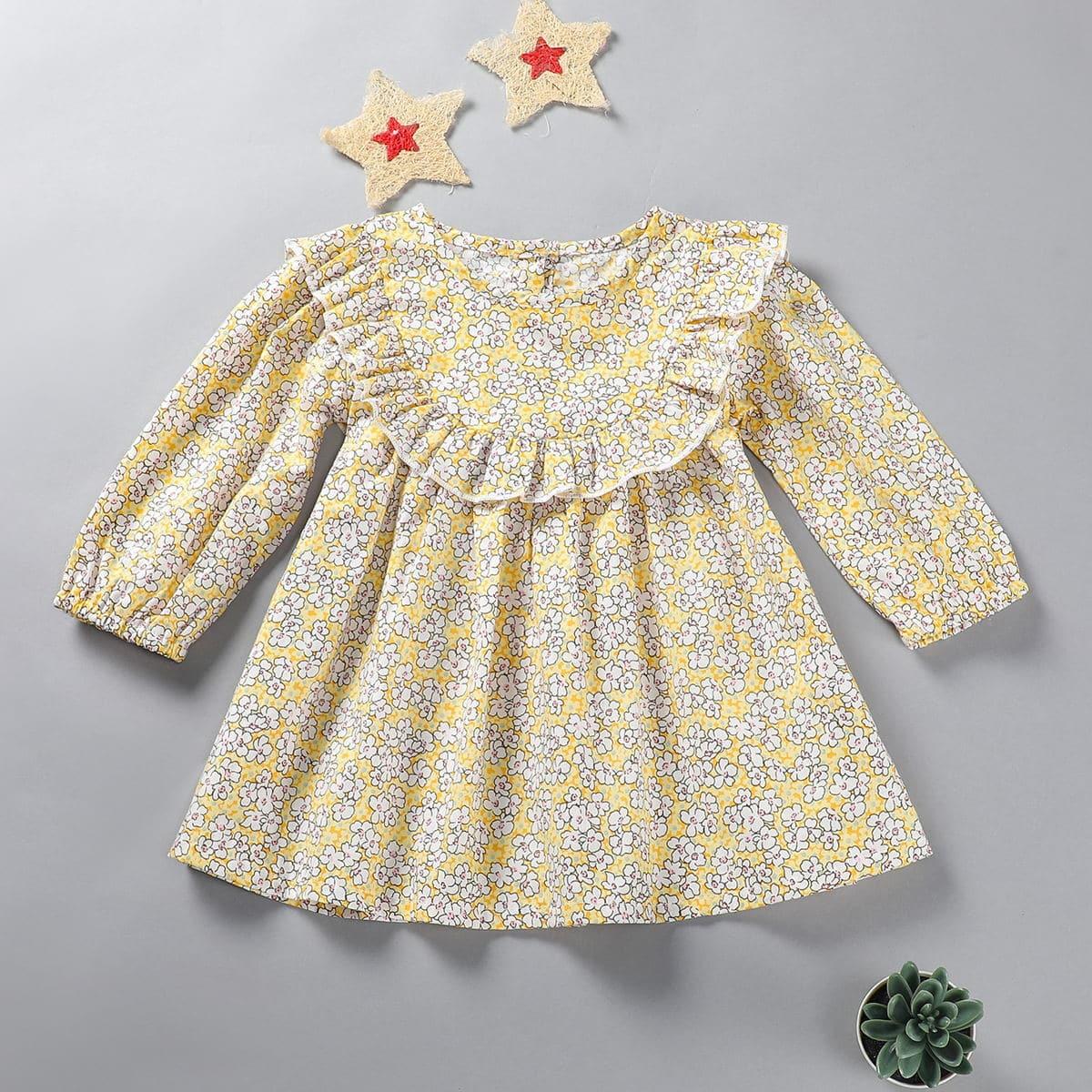 С оборками цветочный милый платья для малышей
