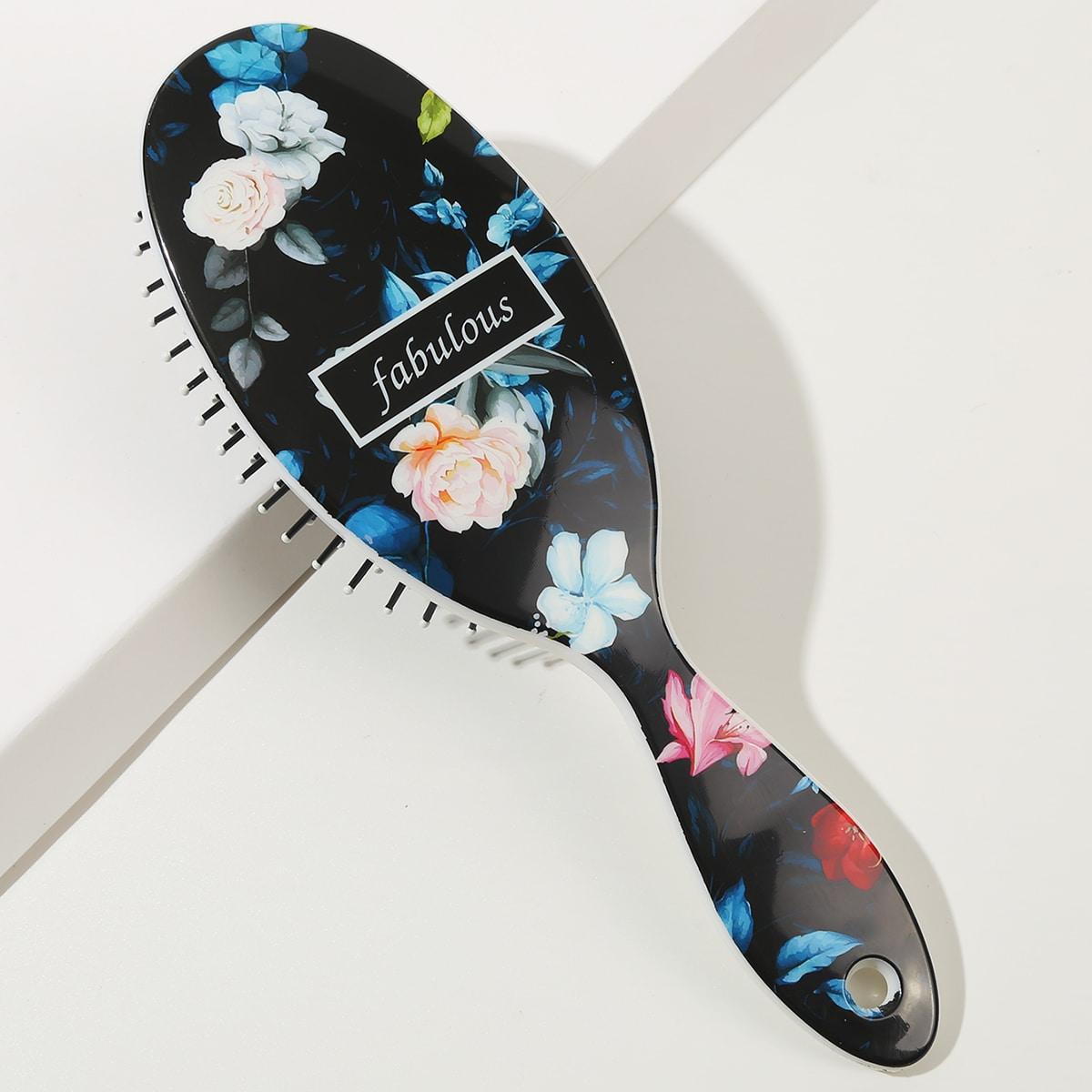 1шт расческа для волос с цветочным принтом