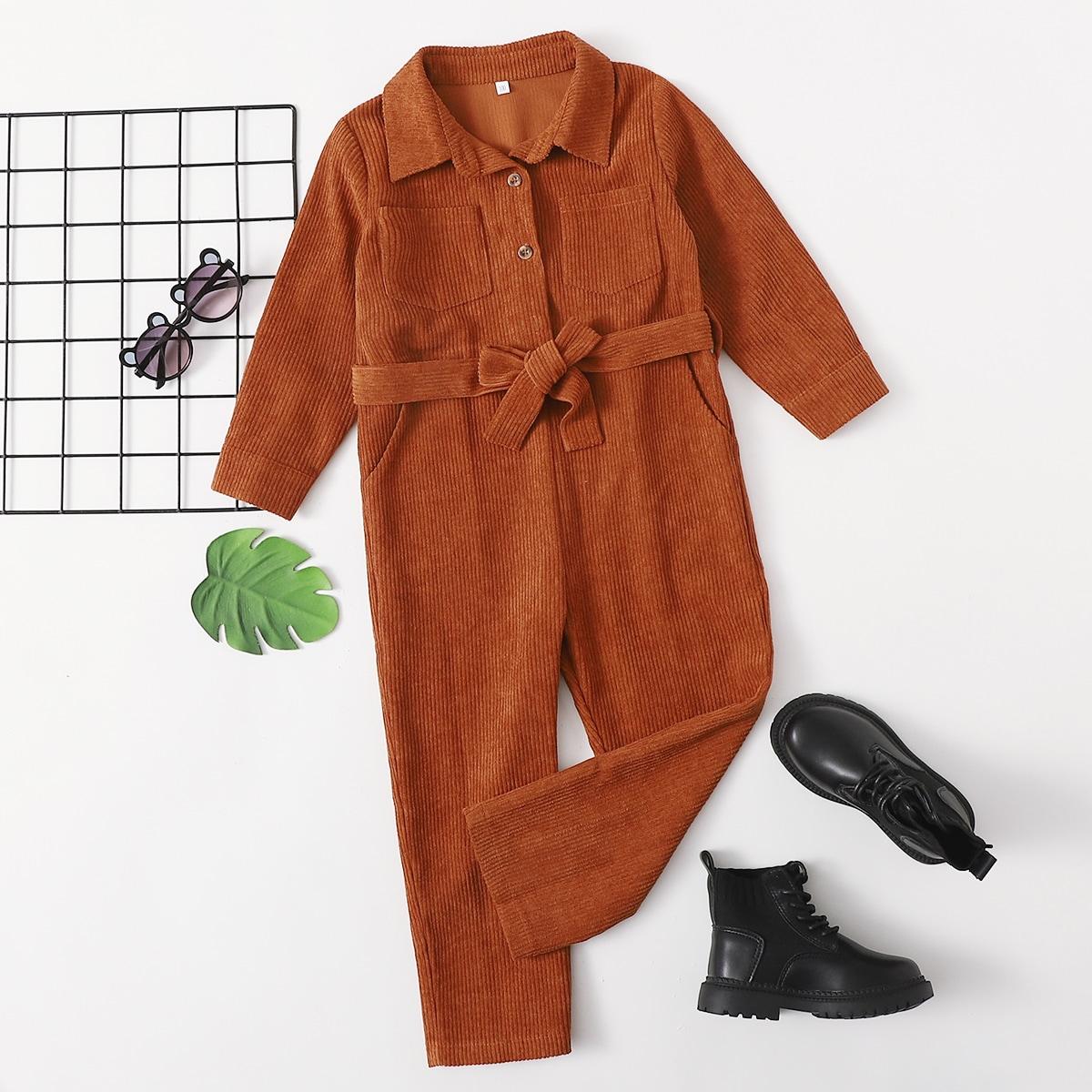 С карманами одноцветный повседневный комбинезоны для девочек