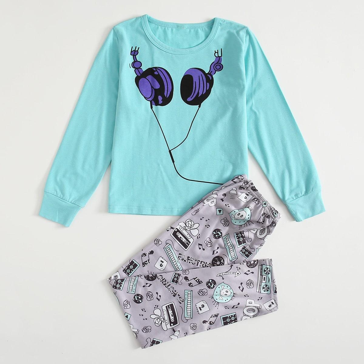 Пижама с текстовым узором для девочек