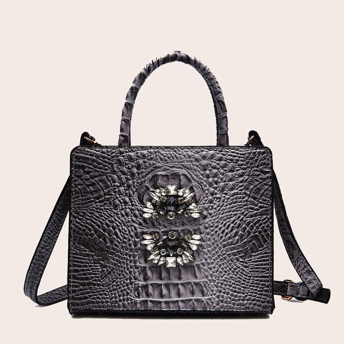 Регулируемый со стразами крокодил модный сумка