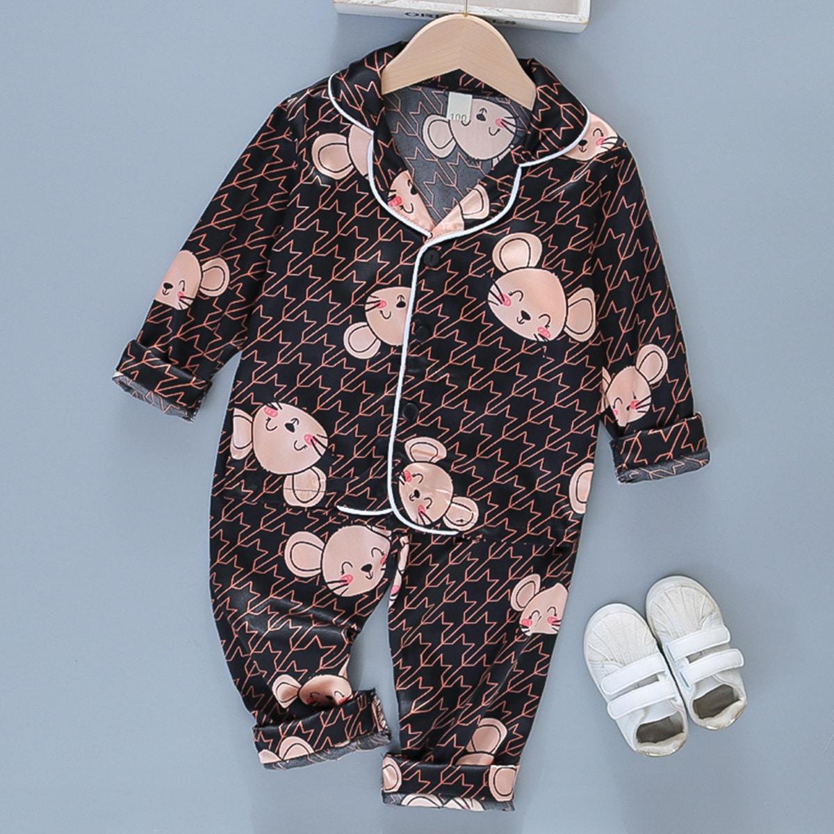 Атласная пижама соригинальнымпринтом для мальчиков