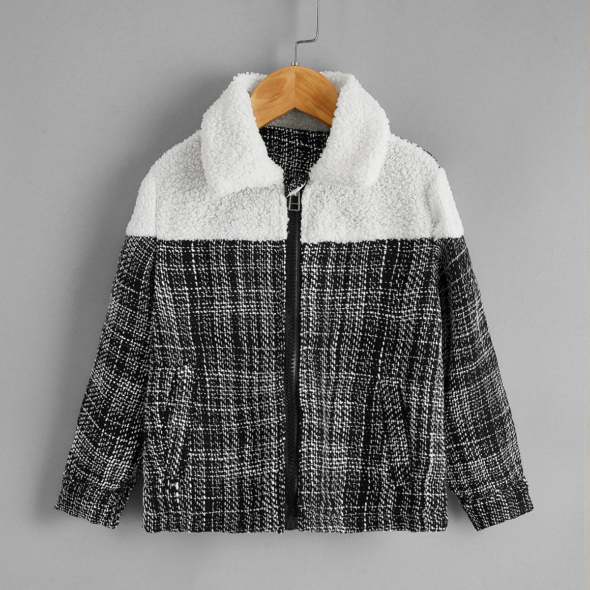 Твидовая куртка в клетку для девочек