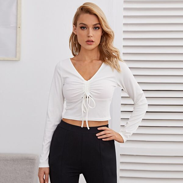V-neck Drawstring Ruched Front Rib-knit Crop Tee, White