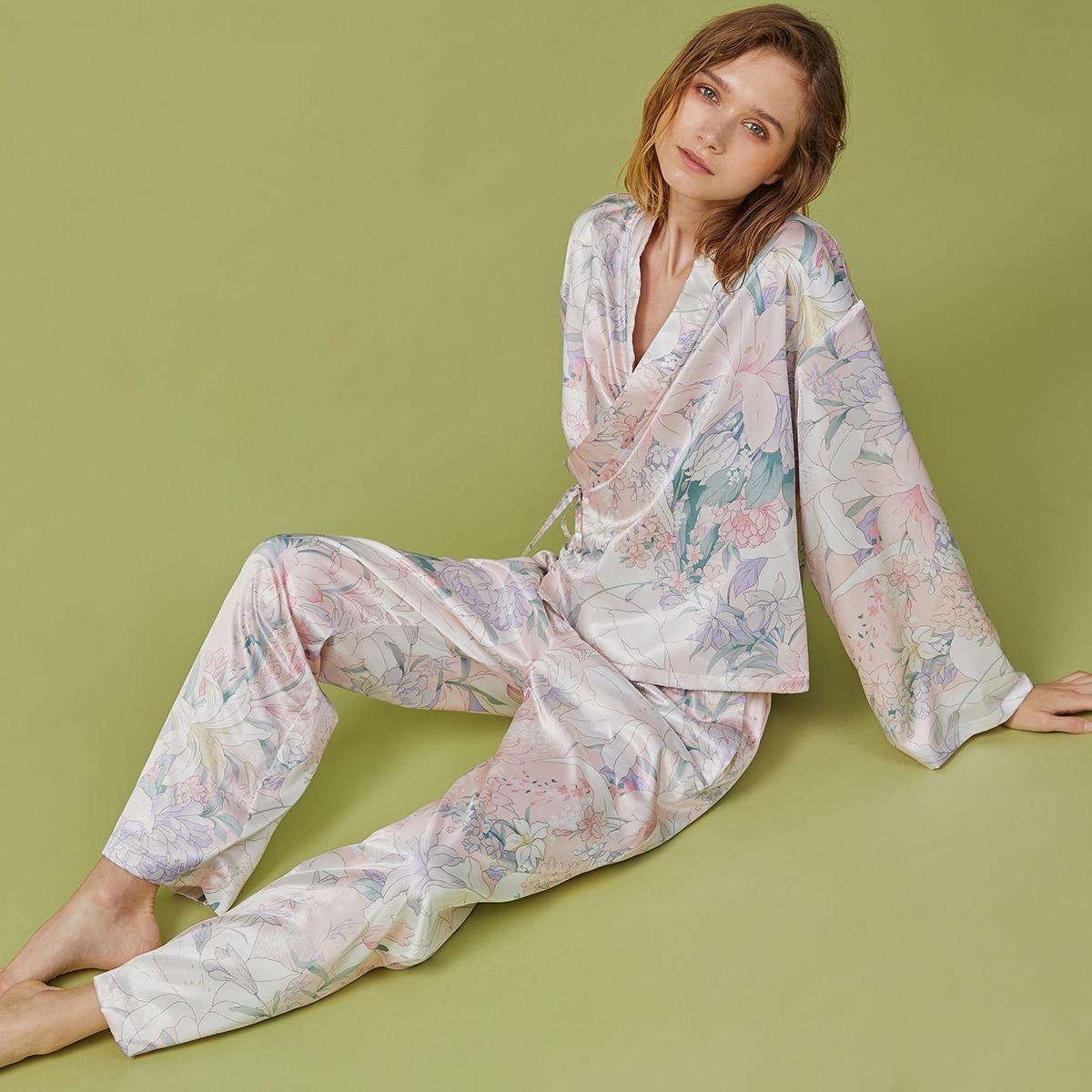 PJM атласная пижама с цветочным принтом