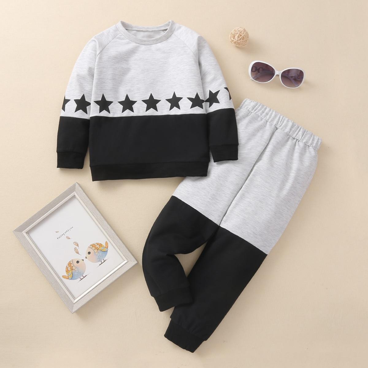 Контрастный свитшот с принтом звезды и спортивные брюки для мальчиков
