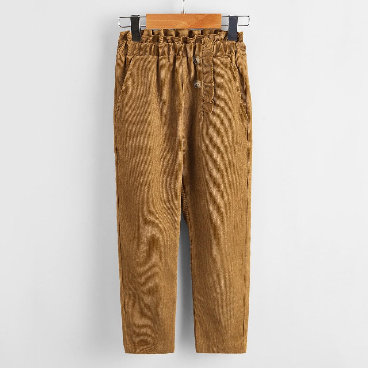 Пугавица одноцветный повседневный брюки для маленьких девочек