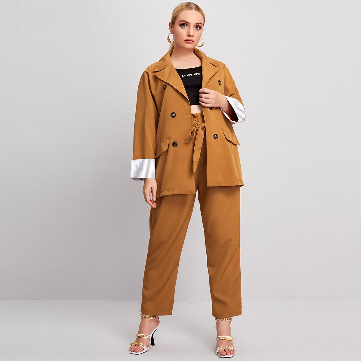 Контрастный блейзер размера плюс в полоску и брюки с поясом