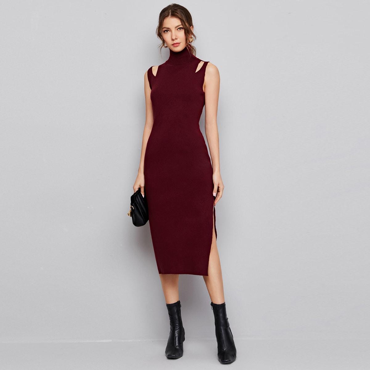 High Neck Cutout Sleeveless Sweater Dress